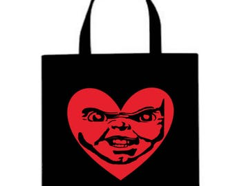 Child's Play Chucky Valentine's Day Horror Canvas Tote Bag Market Pouch Grocery Reusable Halloween Merch Massacre Black Friday Christmas