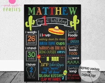 Fiesta First Birthday Chalkboard - First Year Stats with Cactus & Sombrero - Fiesta Birthday Chalkboard - Printed Poster OR Digital File