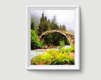 Stone Bridge Rize Uzungol Turkey Painting Postcard Poster Art Print Q152