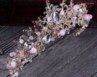 Gold pink and clear crystals bridal tiara