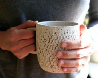 Rustica Mug in Matte White - Carved mug - Ceramic mug - Large Mug