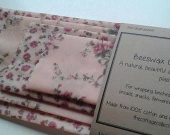 Beeswax Cottage Wraps 'Vintage Pink Floral' - the eco-friendly alternative to plastic cling wrap