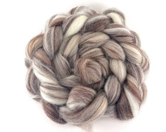 100% BFL 'MIXED BFL' 4oz wool roving, hand dyed, spinning fiber, ecru, combed top, blue faced leicester
