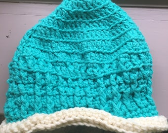 Teal & White Child's Crochet Hat, Gift for Girl 6-12 yrs, Girl's Hat, Fall/Winter Accessories