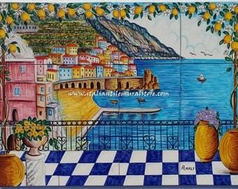 Beautiful amalfi coast tile mural backsplash. Fine Art Ceramic. Tile Murals and Backsplashes. Wall decor landscape. Wall murals art