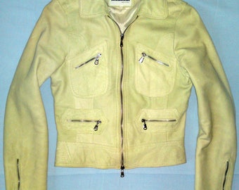 ROSSODISERA - Lady's Cafe Racer Biker Fitted Zipped Lamb Leather Jacket Reseda Made in Italy sz S