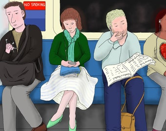 Postcard: Drawing of commuters in the morning on the London Underground / metro / the Tube (A6 size artwork)