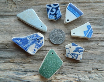 7 Drilled sea pottery shard pieces for jewellery crafts