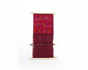 mexican red embroidery / handwoven hanging loom / textile
