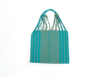 Loom Tote handbag - green with stripes - Mexican Bag