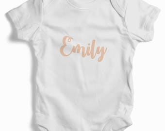 Personalised Girls Name on Baby Grow (bodysuit)
