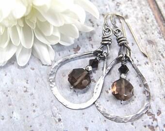 Smoky Quartz Earrings, Hammered Hoop Earrings, Sterling Silver Earrings, Black Earrings, Bohemian Earrings, Wire Wrapped Jewelry