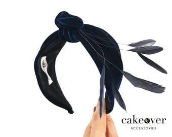 Headband-velour et plumes #2