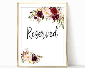 Wedding Reserved Sign. Reserved Table Sign. Reserved Signs for