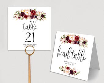 Personalized Table Numbers Printable Wedding Table Numbers Wedding Table Number Template Folded PDF Instant Download Boho Chic