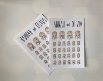 Cute Girl / character / Planner Girl / Blonde - Matte Stickers / Planner Stickers