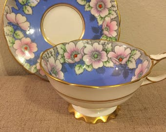 Royal Stafford Blue and Floral Tea Cup and Saucer, Royal Stafford Bone China