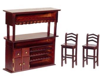 Dollhouse Miniature (3) Piece Mahogany Bar Set 1:12 Scale