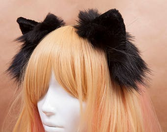 Black Kitty Fur Ears Headband