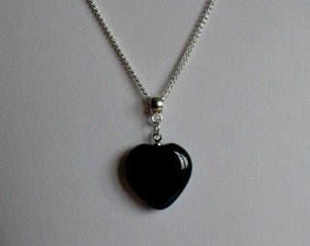 Black Heart Necklace,Black Crystal Heart Necklace,Heart Necklace,Black Heart Pendant,Onyx Heart Necklace,Black Heart Jewelry,Heart Pendant