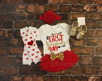 My First Valentines baby girl outfit, Baby Girl 1st Valentines Day Outfit, Girl Valentine,  Personalized, Valentines Day Outfit