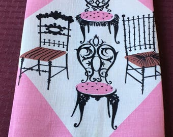 Vintage Tammis Keefe Printed Linen Tea Towel Vibrant Pink & Black Chairs signed