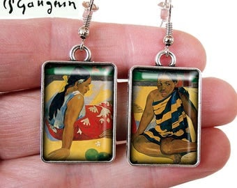 Boucles d'oreilles tableau Paul Gauguin * Femmes de Tahiti * cabochon bronze-n-roses
