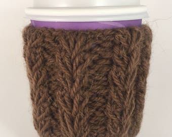 Brown Cable Knit Coffee Cozy, Wood Button, Tea Cozy, Cup Cozy, Coffee Cover, Coffee Sleeve, Latte Cozy