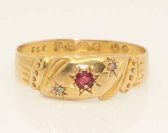Antique 1906 Edwardian 18ct Gold Gypsy Style Garnet & Diamond Ring, Size R