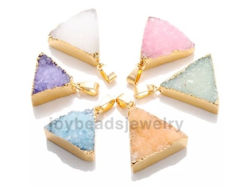 Natural Quartz Crystal Stone Point Chakra Healing Gemstone Pendants Necklace drusy agate pendant