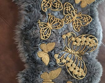 Vintage butterfly wall plaques ,syroco,Homco,burwood