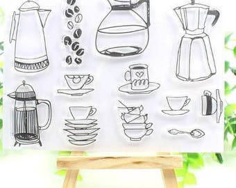 coffee clear rubber stamp set for scrapbooking, card making, paper craft, collage, urn, carafe, java, spoon, cut, pot