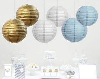 12-Pack Gold Light Blue White Paper Lantern Boy Baby Shower Party Favors Wedding Birthday Paper Decorations