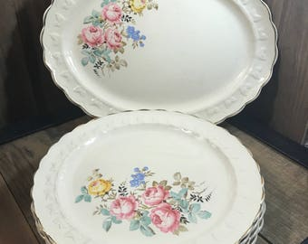 Vintage 1940's Taylor Smith Taylor 7 Piece Set - 1 Platter And 6 Dinner Plates - Floral Pattern - Pink Yellow Blue Flowers - Bridal Shower