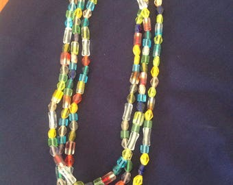Multicoloured glass bead necklace