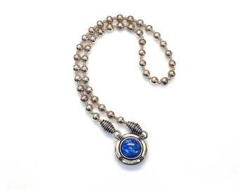 Sterling Silver Round Shape Lapis Lazuli Pendant Beads Chain Multipurpose Necklace