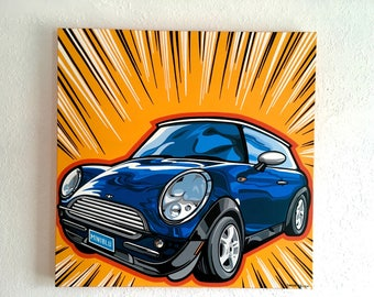 MINI Blu/Original art, Contemporary art, Montana artist, Acrylic painting, Pop, Art collectors, Colorful, Mini Cooper lovers, Car art