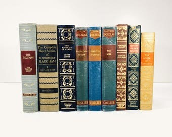 Lot of 9 Vintage Antique Books Decorative Earthtones Hardcover Gold Gilt Library Decor Staging Airbnb Cabin Interior Design Display Books