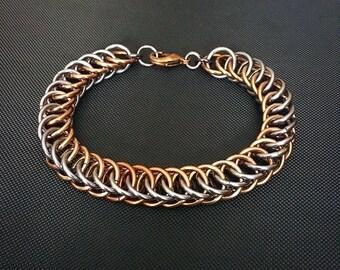 Chainmail Bracelet - Men's Half Persian Chain in Bronze and Gunmetal Grey