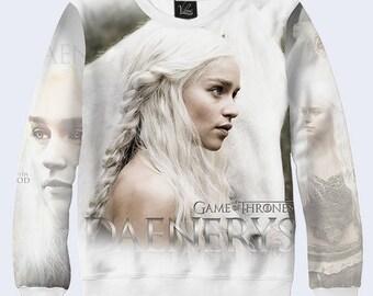 2017 Game of Thrones Dragon Mother Daenerys Targaryen White Pullover Sweatshirt3D  simbol sign  Sweatshirt   new