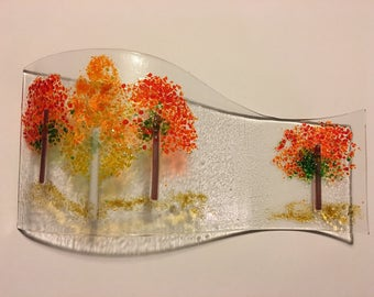 Fused glass autumn trees scene