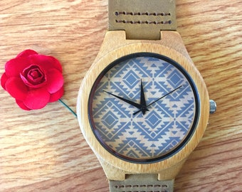 Engraved father gift, Boyfriend Gifts, Groomsmen gift, Wood Watch for Men, Engraved Wood Watch Bamboo Watch DS51