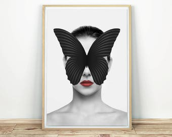 Butterfly Print - Printable Art, Butterfly Wall Art, Modern Art Print, Printable Wall Art, Abstract Art Print, Modern Wall Art, Pop Art