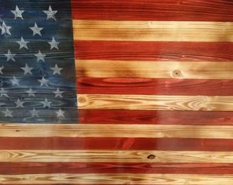 Premium Pine Natural Scorched High Gloss Rustic Wooden American Flag Distressed Pallet Antique Wall Art