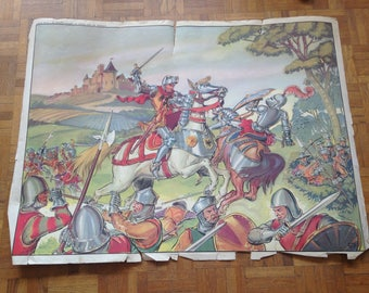 History of France poster - MDI - the Guesclin surprises English ambush / Joan of Arc at the siege of Orléans