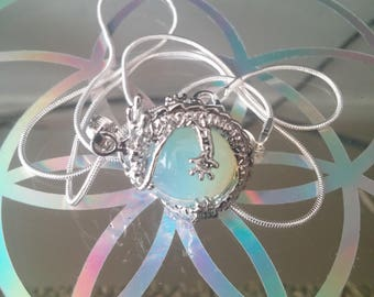 Sea Opal necklace with 925 silver chain