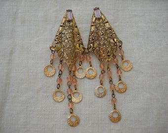 1960 Beautiful long  Earrings - Gold plated with stones