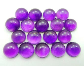 4 Pcs - Natural Amethyst Smooth Round Shape Cabochons - 11 MM Size - Amethyst Cabochons - High Quality - Amethyst Cabochon - Wholesalegems