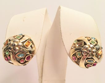 Vintage sterling silver gilded clip earrings - 1960
