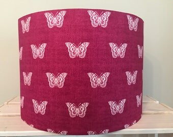 Pink Butterfly Drum Lampshade